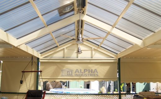 Flat Gable Patio with Powdercoated Framework & Polycarbonate Roof