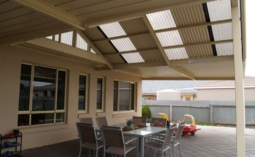 Gable Flat Patio with Skylights & Polycarbonate Infill