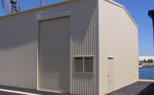 Industrial Building in Surfmist® with Solid Access Door & Ventilation