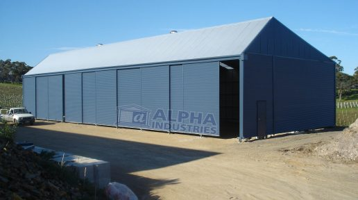 Custom Designed Winery Shed with Sliding Doors in Deep Ocean®